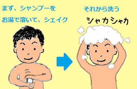 シャンプーをお湯で溶く
